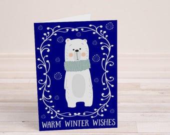 Polar Bear Greeting Card - Winter Polar Bear - Woodland Christmas - Warm Winter Wishes - Designer Christmas Card - Generic Holiday Cards