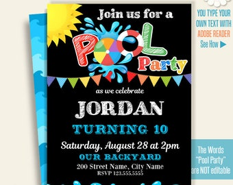 Pool invitation, Printable pool party invitation, Instant Download Self Editable PDF A284
