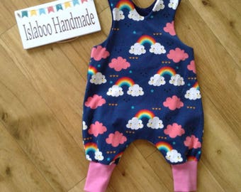 Cloud and Rainbow romper, navy rainbow and cloud romper, Cloud and Rainbow harem romper, Rainbow Romper, baby rainbow and cloud romper