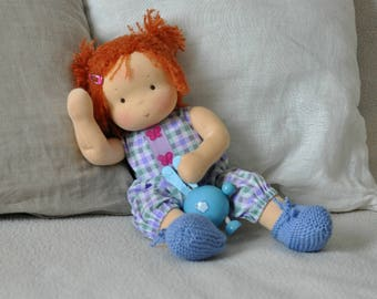"Textile Waldorf baby doll for kids Toma 14,57"" (37 cm) READY TO SHIP"