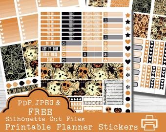 Halloween Weekly Kit, Printable Planner Stickers, Erin Condren Life Planner, Ghost Stickers, Pumpkin Stickers, Bat Stickers