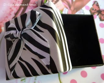 Set of 5 boxes gift box for ring Zebra black and white bow satin