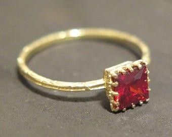 14k square ring - solid gold ring - Garnet ring - gold Garnet ring - small Garnet ring - gold square ring - square gold ring - red Garnet