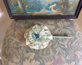 Art Deco Silk and Lace Powder Puff Wand, Pristine!