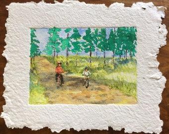 Mountain biking kids, adventures on a bike: original watercolour painting.