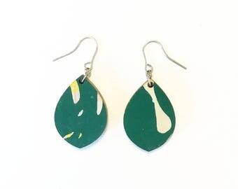 Wooden earrings--lightweight teardrop in Green