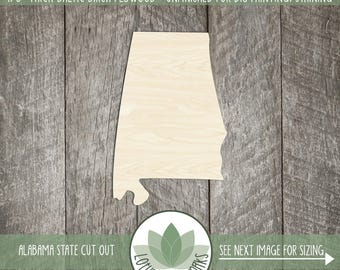 Alabama Wood Shape, Unfinished Wood Alabama Laser Cut Shape, DIY Craft Supply, Many Size Options