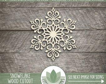 Wood Snowflake Ornament, Holiday Snowflake Decor, Snowflake Christmas Tree Ornament, Laser Cut Wood Snowflake, Holiday Table Decoration
