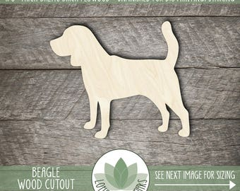 Beagle Dog Wood Cut Out Shape, Unfinished Wood Beagle Laser Cut Shape, DIY Craft Supply, Many Size Options