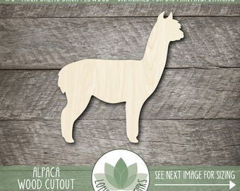 Alpaca Wood Cutout, Wooden Alpaca Shape, Laser Cut Wood Shapes, Unfinished Wood For DIY Projects