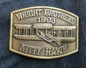 Vintage Wright Brothers 1903 Kitty Hawk Solid Brass Aviation Belt Buckle
