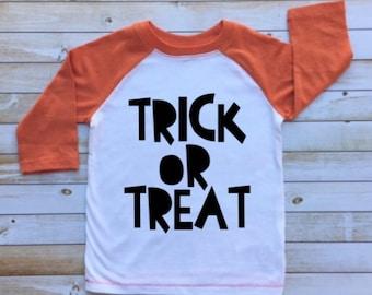 Trick or Treat shirt, boy halloween shirt, toddler raglan, todder baseball tee