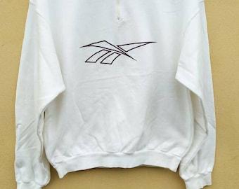 Vintage REEBOK Half Zipper sweatshirt / Reebok Big Logo crewneck jumper