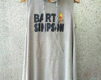 Vintage Bart Simpson hoodies sleeveless