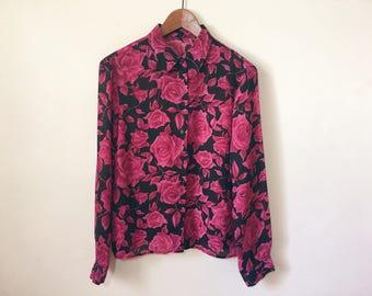 Vintage rose floral black and magenta pink collared sheer blouse