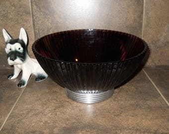 Retro Purple Amethyst Serving Bowl w/Chrome Ribbed Base