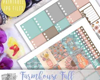 Farmhouse Fall Weekly Kit - Printable Stickers for Erin Condren