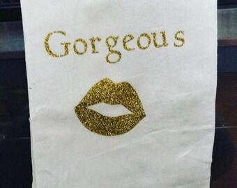 Gold glitter gorgeous tea kitchen towel