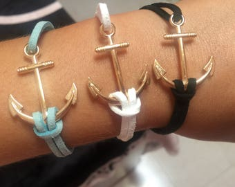 Rope Bracelet with Gold Anchor - Beautiful Gift