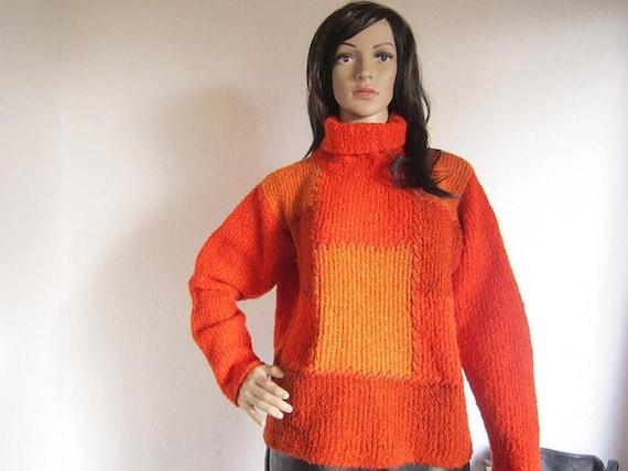 Vintage 80s Wool Sweater Turtleneck Sweater wool Orange Olsen