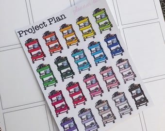 20 Planner Cart Planner Stickers (Multicolour,Red,Yellow,Pink,Blue,Orange,Purple,Green,Matte,Planner Stickers,Decorative,Functional