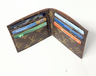 Repurposed Louis Vuitton men's wallet- Upcycled Louis Vuitton wallet - Louis Vuitton men's wallet - LV men's wallet - Upcycled LV wallet