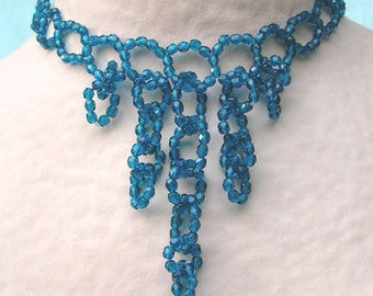 Necklace links teal blue petrol - crew neck with pendants