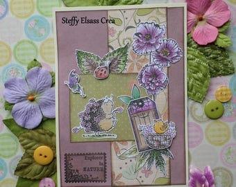 Card Hedgehog Explorer nature spring flowers