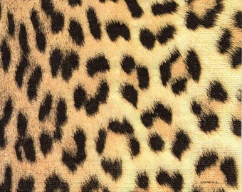 Paper Napkins for Decoupage African Leopard Print Couture (1x Napkin) - ideal for Decoupage, Collage, Mixed Media, Crafts