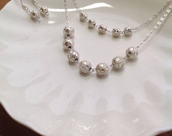 STERLING SILVER mirror ball necklace