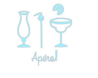 set of 5 cutouts cardmaking scrapbooking drinks...
