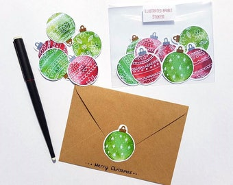 Christmas bauble stickers - festive stationary - Xmas gift wrap - Card stickers -  Envelope stamp