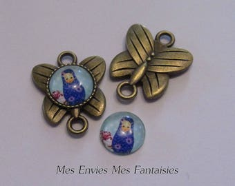 Bronze 2 Butterfly connectors for Cabochons 12 mm + 2 matryoshka B27 glass cabochons