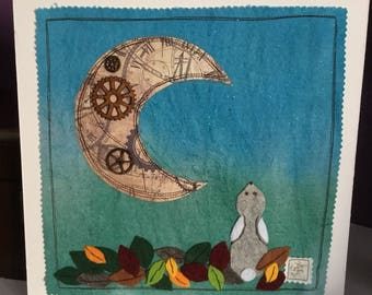 Little grey moon gazey hare mixed media picture