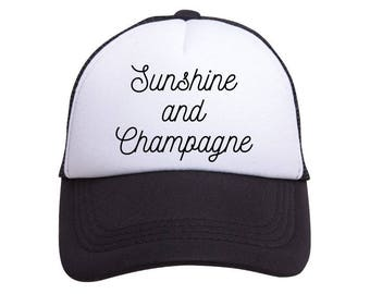 Sunshine and Champagne Trucker - perfect for bachelorette party, bridesmaid gifts, great for bachelorette - free shipping on 5 or more hats
