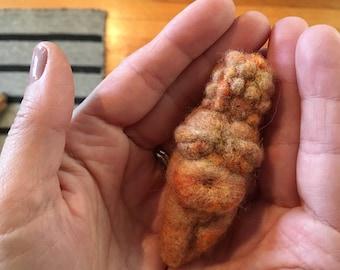 Needle Felted Venus of Willendorf in Terracotta