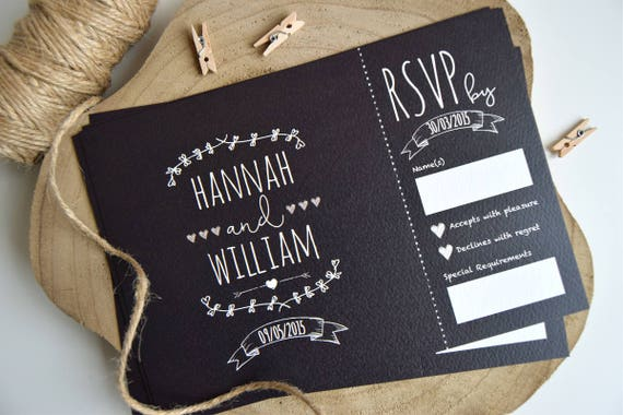 Rustic Chalkboard Wedding Invitation and Rsvp Postcard Sample