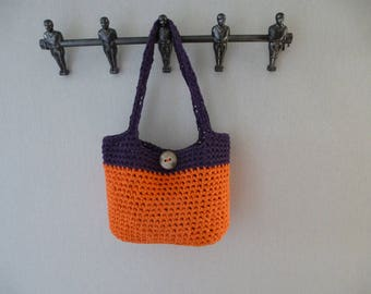 bag crocheted with recycled yarn button closure
