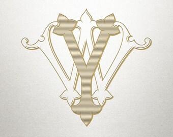 Custom Wedding Monogram - WY YW - Wedding Monogram - Vintage