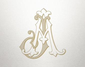 Wedding Monogram Logo - AJ JA - Monogram Logo - Digital