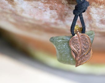 Handmade Found Salvaged Sea Glass Vintage Copper Leaf (Earring) Pendant Black Suede Cord Necklace OOAK Refashion Upcycle Repurpose Eco Boho