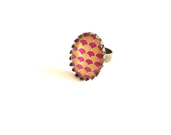 Yellow and pink - scales Bronze Ring
