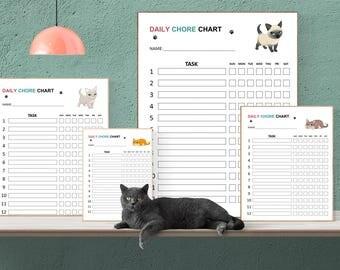 Cute Cats with big eyes - KIDS Chore Charts, Printable, Responsibility Chart, Chores, Reward Chart, Job Chart, Digital