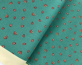 Sale Lucky Day Ladybug in Pond Cotton Fabric by Momo for Moda, Japanese Fabric, Ladybugs, Turquoise