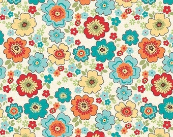 Sale Blossoms in Cream Cotton Fabric from the Road Trip Collection by Riley Blake