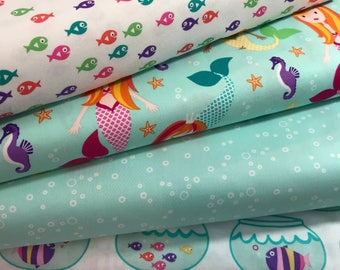 Bundle of 4 Fabrics from the Mer-Mates Collection from Michael Miller Fabrics, Water Bubbles, Fish, Mermaids, Fishbowls
