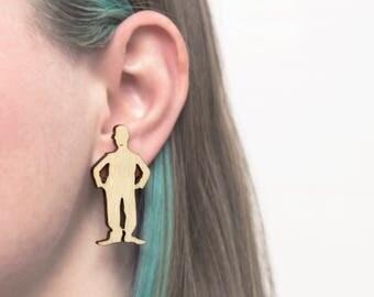 NEW! Wooden stud earrings - Wooden human earrings - People studs - Rustic jewelry - Wooden jewelry - Wooden studs - Wooden people