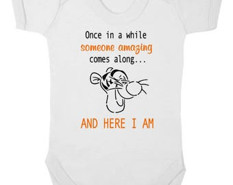 TIGGER QUOTE    -    NEW Winnie The Pooh Baby Bodysuit/Baby Grow/Onesie/Vest/All-In-One, Baby Shower, Newborn Gift, Christening Present