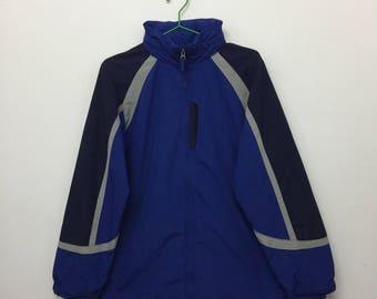 Vintage LL Bean Windbreaker/LL Bean Zip Up Hide Away Hoodie Jacket/Outdoor Hiking/Blue/Size L