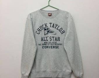 Vintage Converse Womens Sweatshirt/Converse Chuck Taylor Sweatshirt/Converse Pullover/Heather Grey/Size M